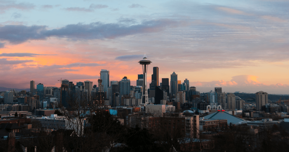 Sunrise over Seattle's skyline